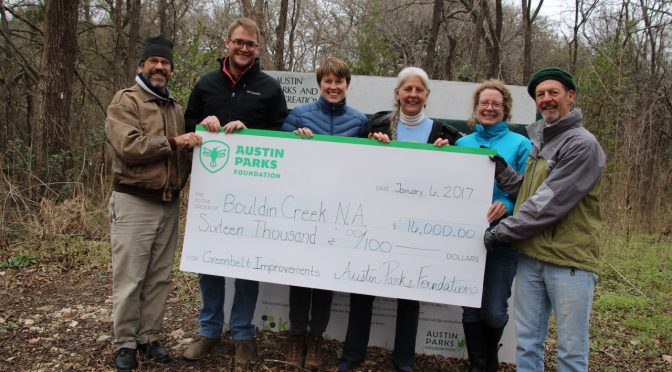 BCNA Granted $16,000 for West Bouldin Creek Greenbelt Trail Improvements
